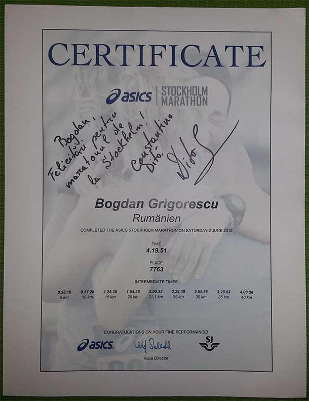 Diploma Maraton Constantina Dita Stockholm!